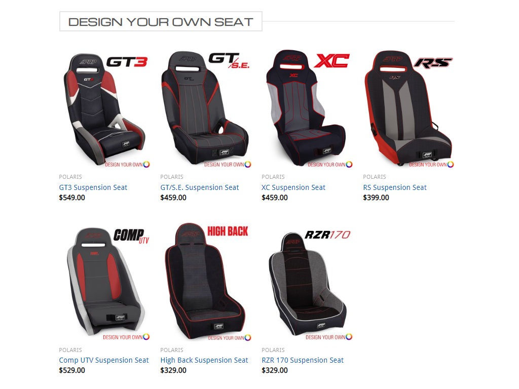 PRP Custom Design Your Own Seats for Can-Am (pair)